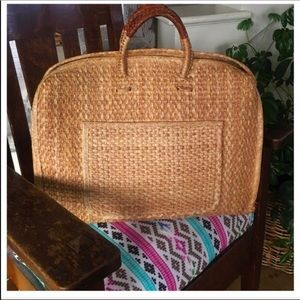 Vintage Large Rattan Market/Beach Tote Lthr Handle